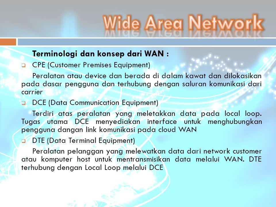 Terminologi dan konsep dari WAN :  CPE (Customer Premises Equipment) Peralatan atau device dan berada di dalam kawat dan dilokasikan pada dasar pengg