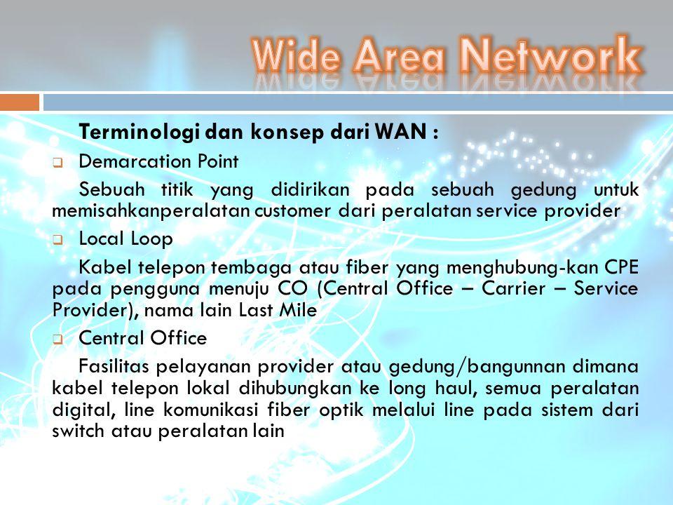 Terminologi dan konsep dari WAN :  Demarcation Point Sebuah titik yang didirikan pada sebuah gedung untuk memisahkanperalatan customer dari peralatan