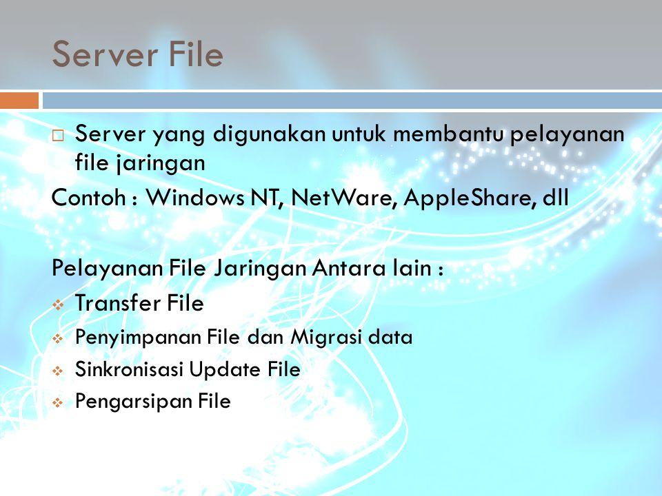 Server File  Server yang digunakan untuk membantu pelayanan file jaringan Contoh : Windows NT, NetWare, AppleShare, dll Pelayanan File Jaringan Antar