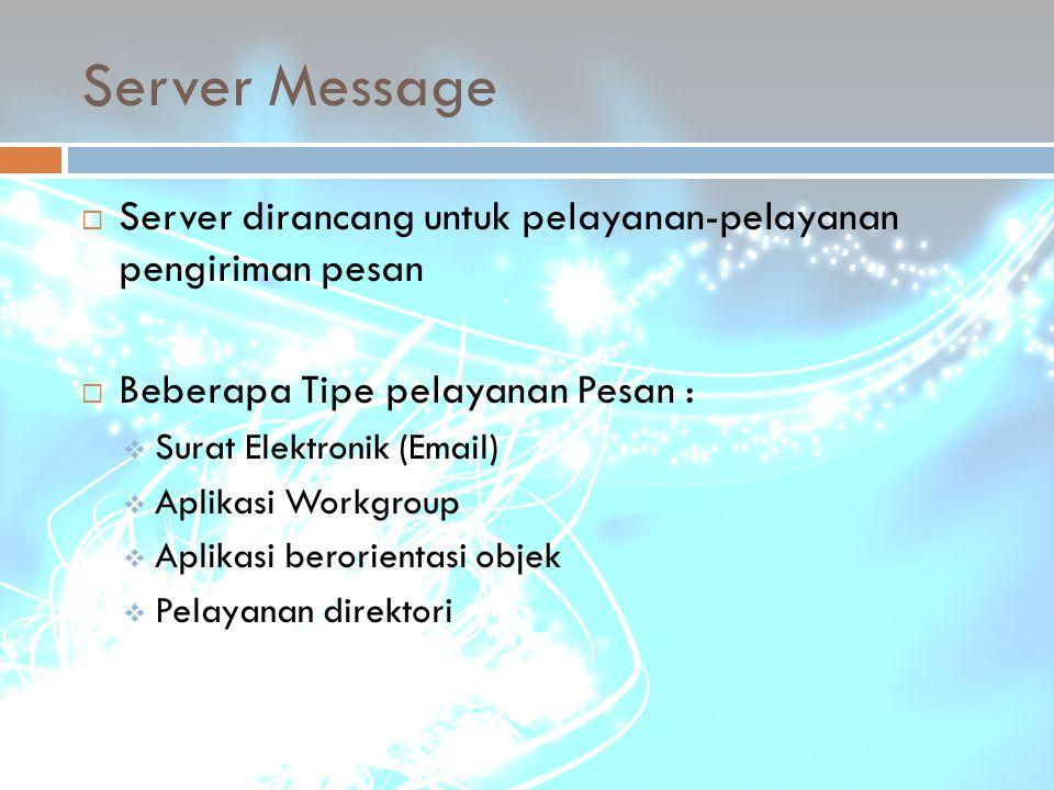 Server Message  Server dirancang untuk pelayanan-pelayanan pengiriman pesan  Beberapa Tipe pelayanan Pesan :  Surat Elektronik (Email)  Aplikasi W