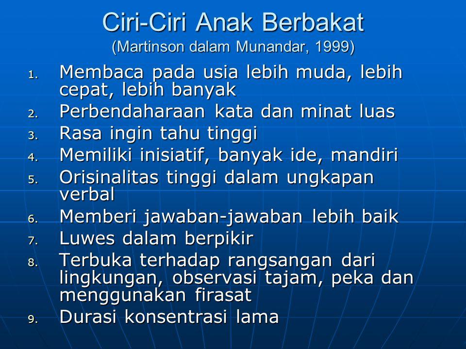 Ciri-Ciri Anak Berbakat (Martinson dalam Munandar, 1999) 1.