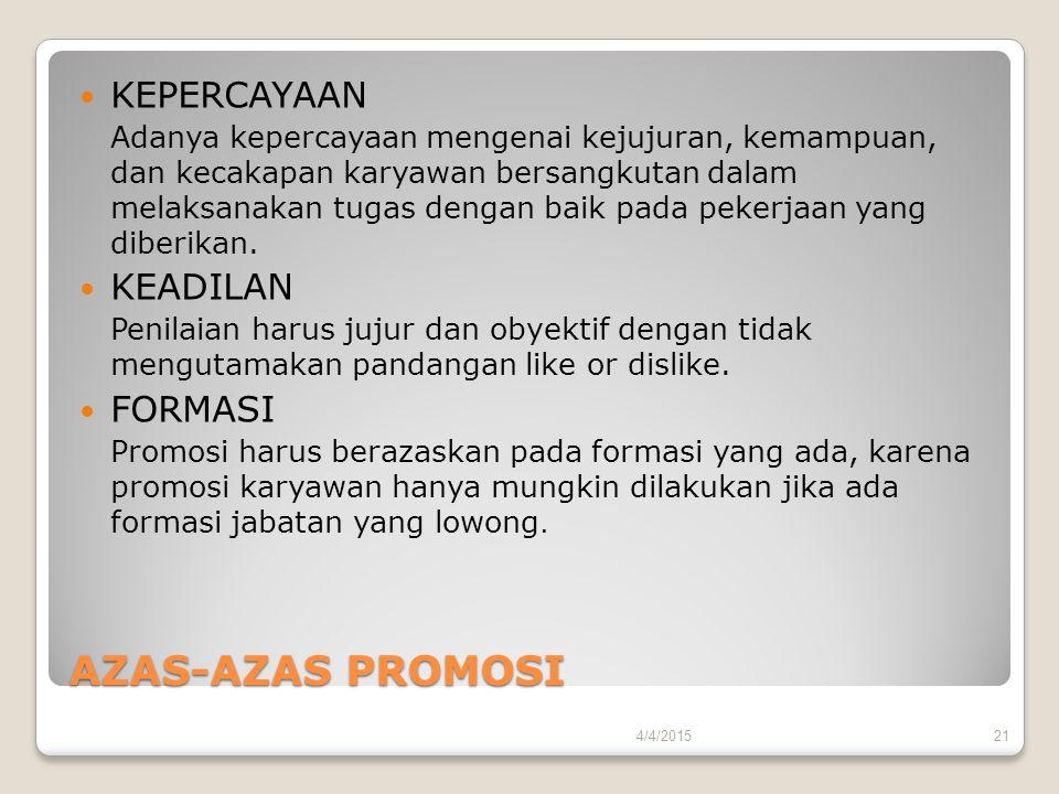 AZAS-AZAS PROMOSI KEPERCAYAAN Adanya kepercayaan mengenai kejujuran, kemampuan, dan kecakapan karyawan bersangkutan dalam melaksanakan tugas dengan ba