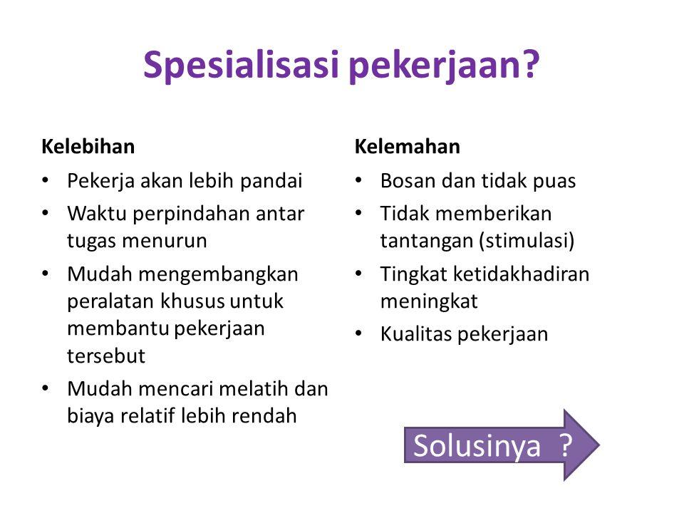 1. Merancang Pekerjaan (Job design) Menentukan pekerjaan individu yang berkaitan dengan tanggungjawab Spesialisasi pekerjaan (job specialization) Ting