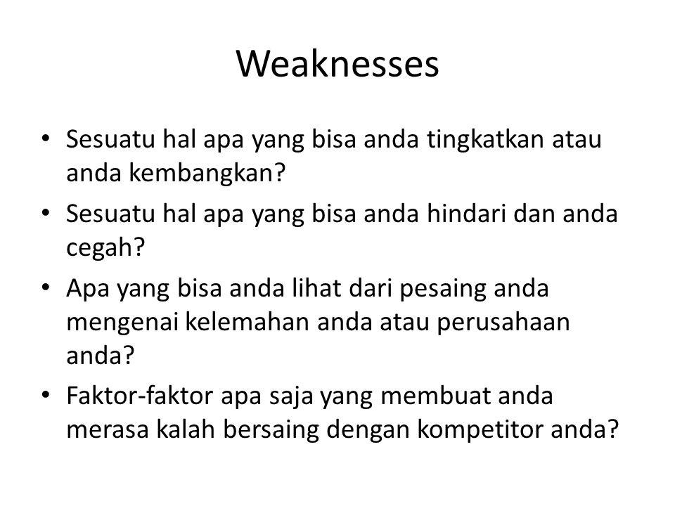 Weaknesses Sesuatu hal apa yang bisa anda tingkatkan atau anda kembangkan.