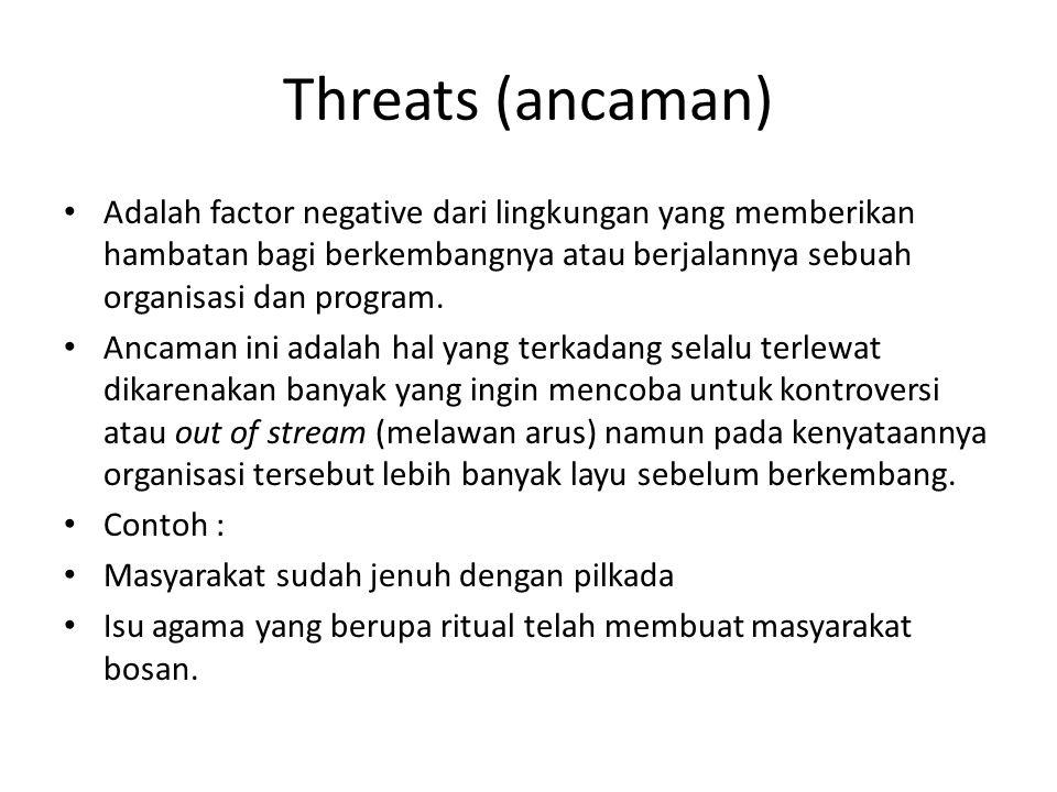 Threats (ancaman) Adalah factor negative dari lingkungan yang memberikan hambatan bagi berkembangnya atau berjalannya sebuah organisasi dan program.