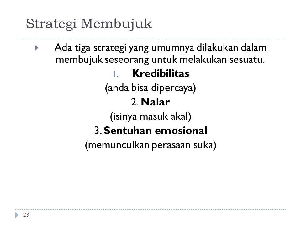 Strategi Membujuk 23  Ada tiga strategi yang umumnya dilakukan dalam membujuk seseorang untuk melakukan sesuatu.