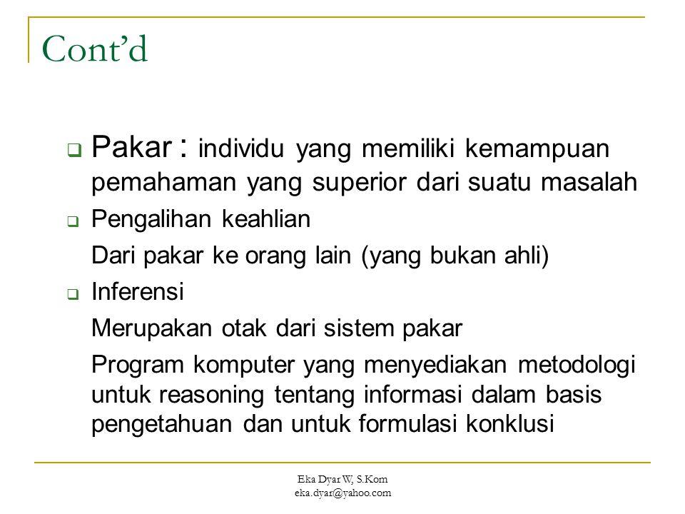 Eka Dyar W, S.Kom eka.dyar@yahoo.com Cont'd  Pakar : individu yang memiliki kemampuan pemahaman yang superior dari suatu masalah  Pengalihan keahlia
