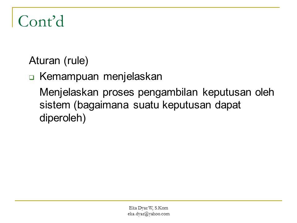 Eka Dyar W, S.Kom eka.dyar@yahoo.com Cont'd Aturan (rule)  Kemampuan menjelaskan Menjelaskan proses pengambilan keputusan oleh sistem (bagaimana suat