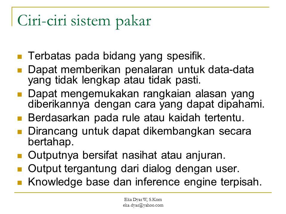 Eka Dyar W, S.Kom eka.dyar@yahoo.com Ciri-ciri sistem pakar Terbatas pada bidang yang spesifik. Dapat memberikan penalaran untuk data-data yang tidak