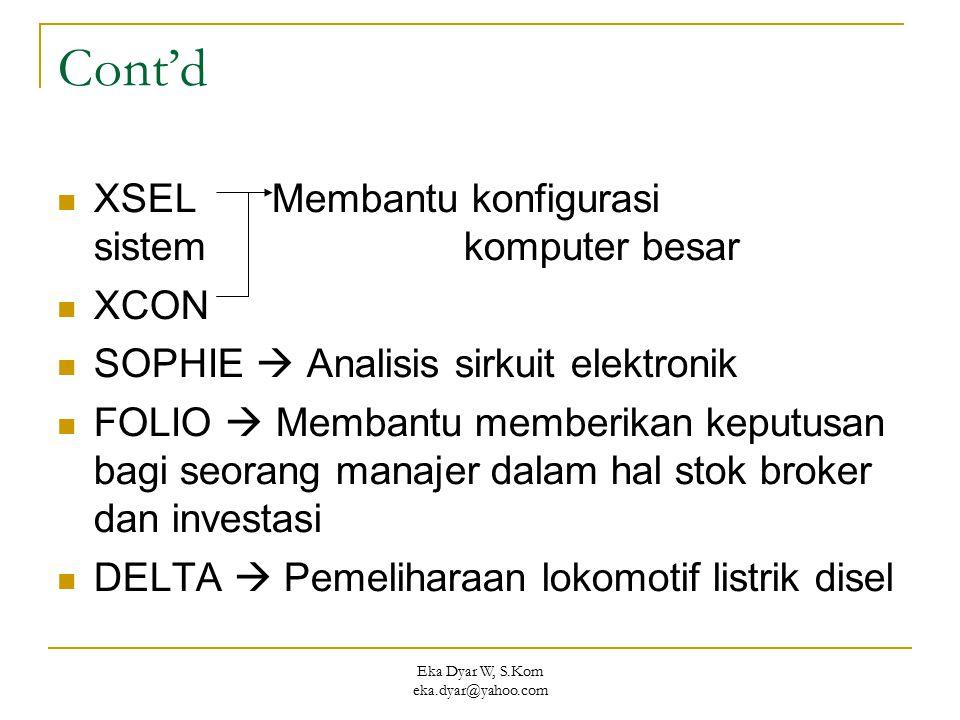 Eka Dyar W, S.Kom eka.dyar@yahoo.com Cont'd XSEL Membantu konfigurasi sistem komputer besar XCON SOPHIE  Analisis sirkuit elektronik FOLIO  Membantu