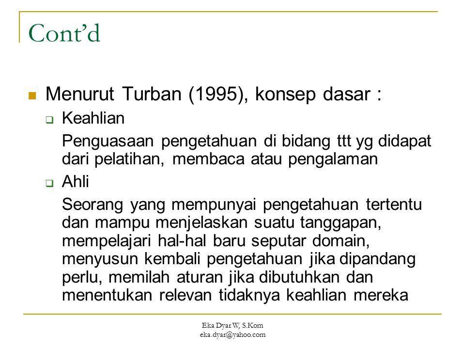 Eka Dyar W, S.Kom eka.dyar@yahoo.com Cont'd Menurut Turban (1995), konsep dasar :  Keahlian Penguasaan pengetahuan di bidang ttt yg didapat dari pela