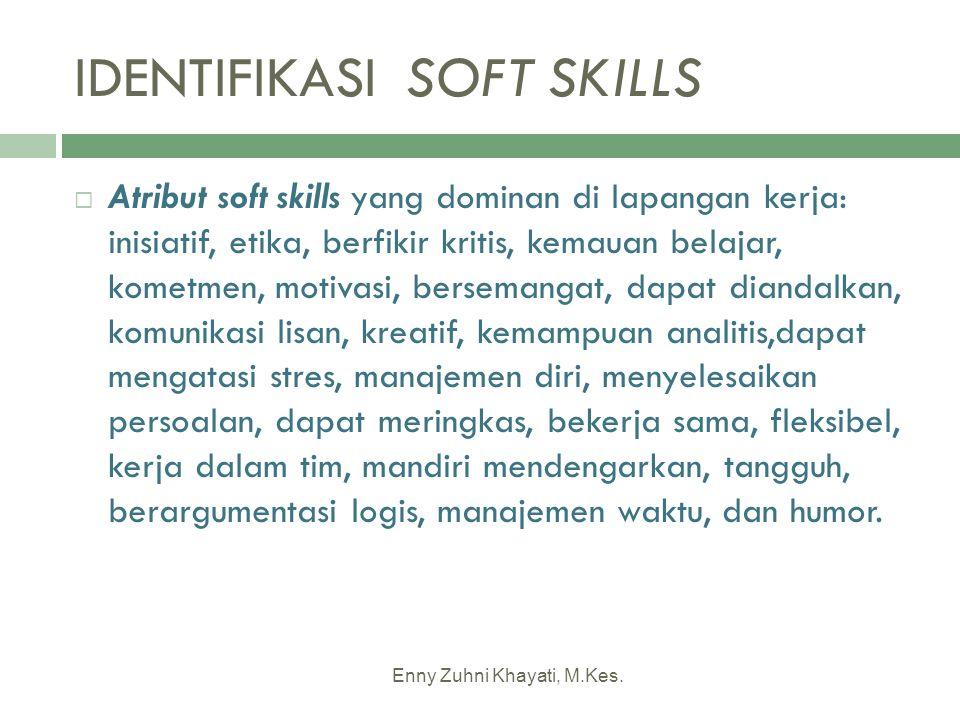 IDENTIFIKASI SOFT SKILLS  Atribut soft skills yang dominan di lapangan kerja: inisiatif, etika, berfikir kritis, kemauan belajar, kometmen, motivasi,
