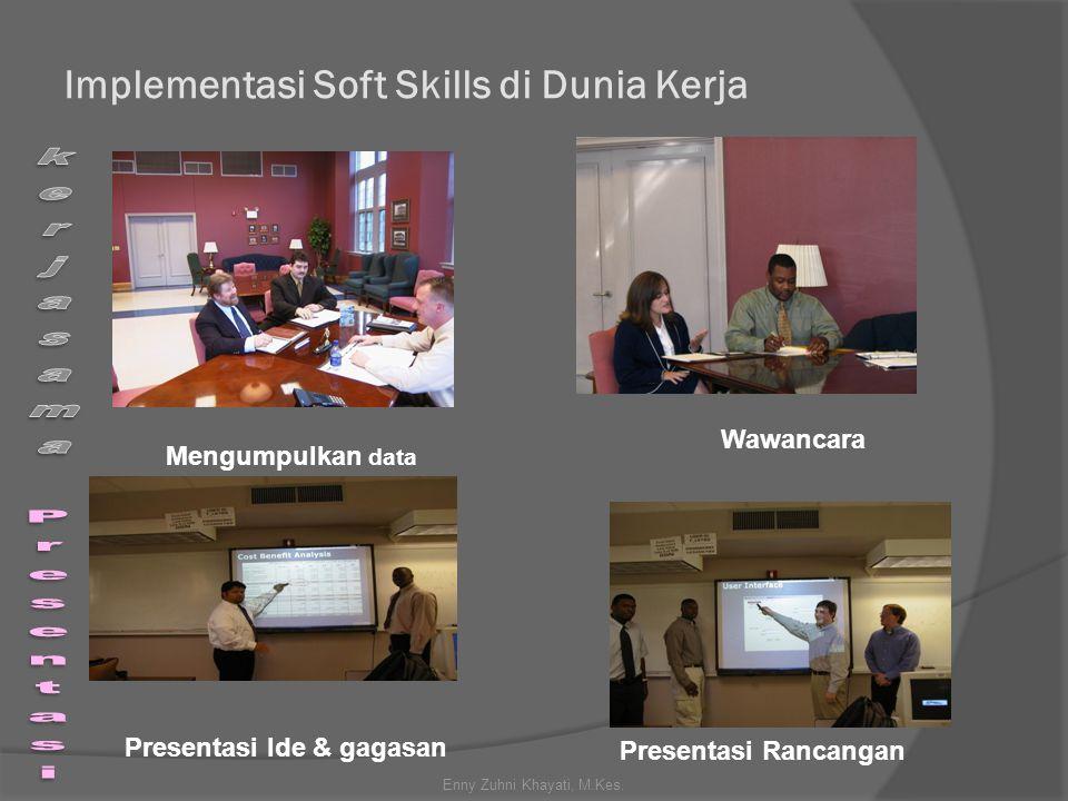 Implementasi Soft Skills di Dunia Kerja Mengumpulkan data Wawancara Presentasi Ide & gagasan Presentasi Rancangan Enny Zuhni Khayati, M.Kes.