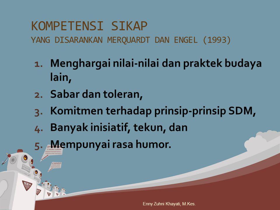 1. Menghargai nilai-nilai dan praktek budaya lain, 2. Sabar dan toleran, 3. Komitmen terhadap prinsip-prinsip SDM, 4. Banyak inisiatif, tekun, dan 5.