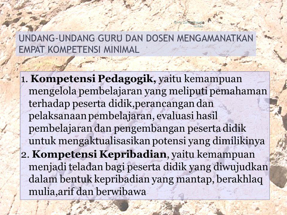 UNDANG-UNDANG GURU DAN DOSEN MENGAMANATKAN EMPAT KOMPETENSI MINIMAL 1. Kompetensi Pedagogik, yaitu kemampuan mengelola pembelajaran yang meliputi pema