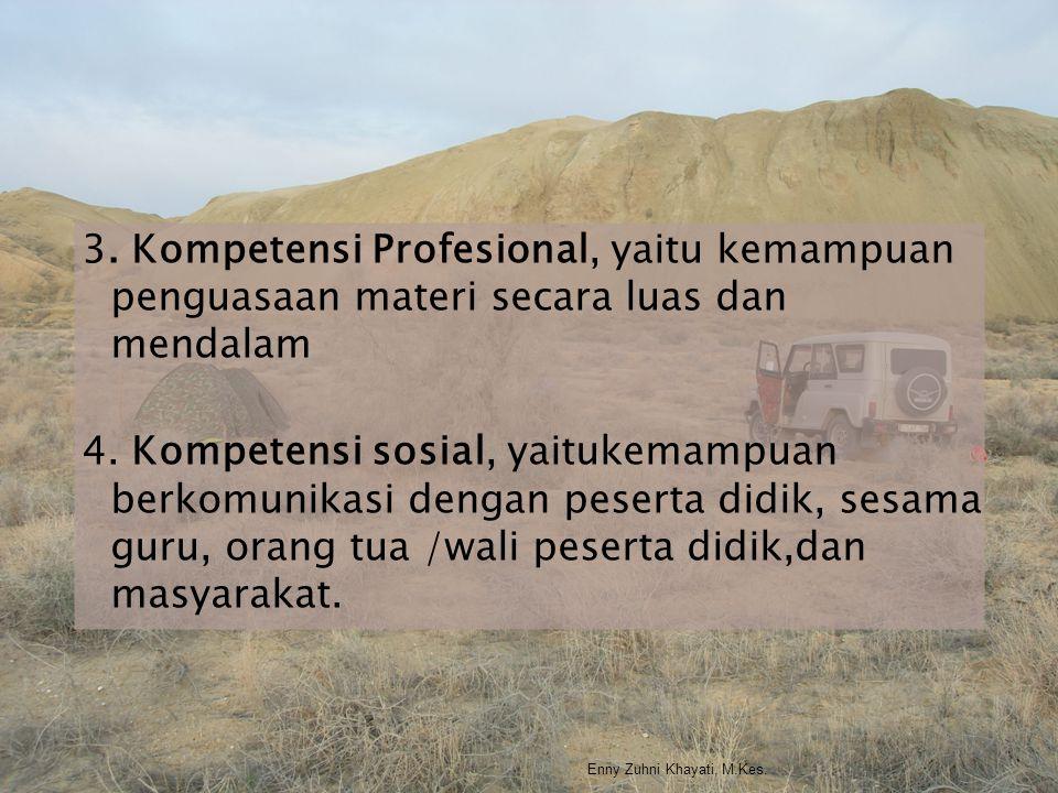 3. Kompetensi Profesional, yaitu kemampuan penguasaan materi secara luas dan mendalam 4. Kompetensi sosial, yaitukemampuan berkomunikasi dengan pesert