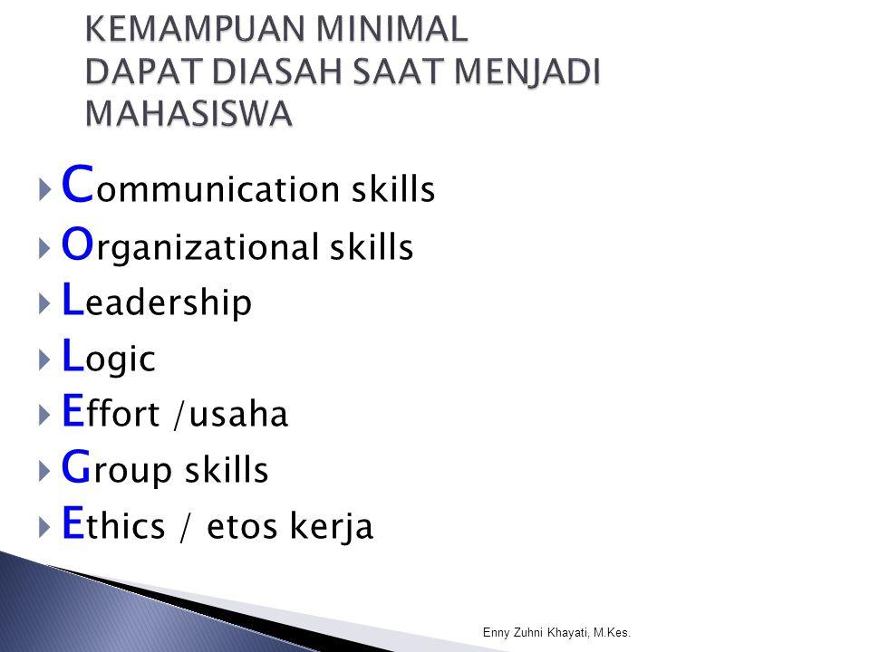  C ommunication skills  O rganizational skills  L eadership  L ogic  E ffort /usaha  G roup skills  E thics / etos kerja Enny Zuhni Khayati, M.