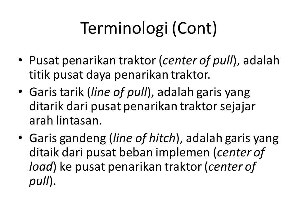 Terminologi (Cont) Pusat penarikan traktor (center of pull), adalah titik pusat daya penarikan traktor. Garis tarik (line of pull), adalah garis yang