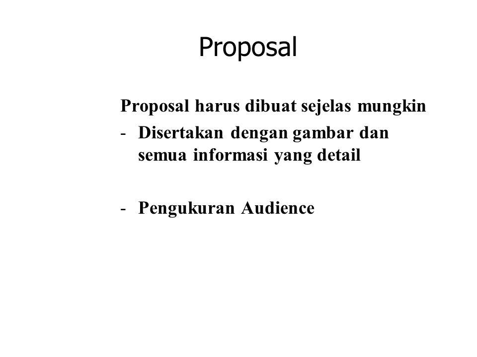 Proposal Proposal harus dibuat sejelas mungkin -Disertakan dengan gambar dan semua informasi yang detail -Pengukuran Audience