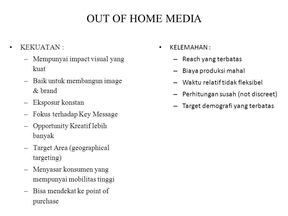 OUT OF HOME MEDIA KEKUATAN : –Mempunyai impact visual yang kuat –Baik untuk membangun image & brand –Eksposur konstan –Fokus terhadap Key Message –Opp