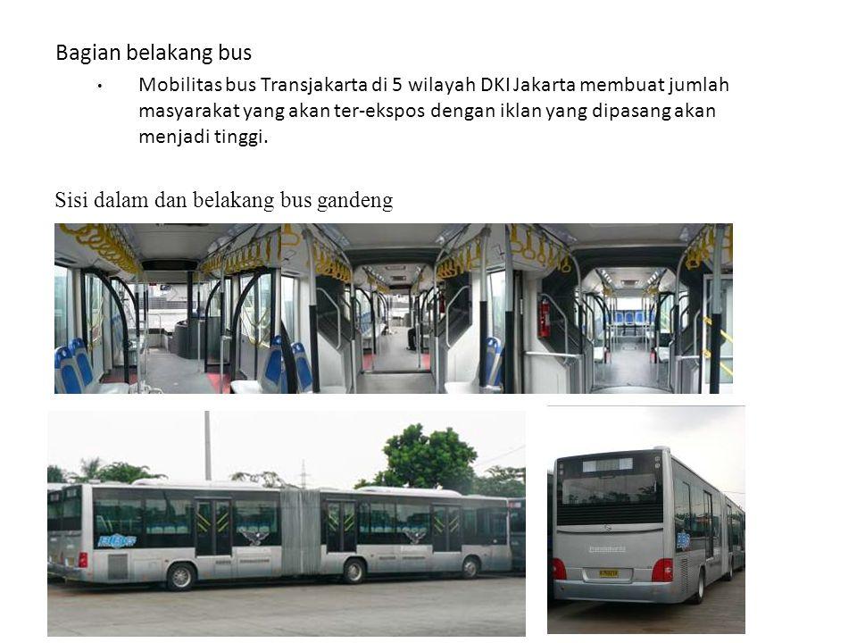 Bagian belakang bus Mobilitas bus Transjakarta di 5 wilayah DKI Jakarta membuat jumlah masyarakat yang akan ter-ekspos dengan iklan yang dipasang akan