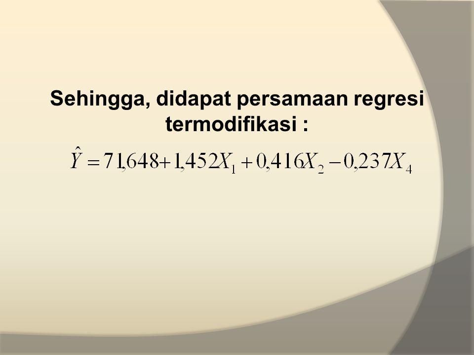 Sehingga, didapat persamaan regresi termodifikasi :