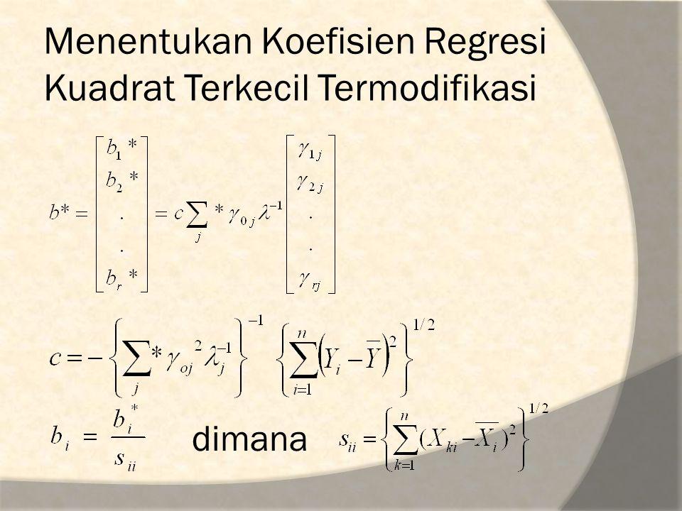 Menentukan Koefisien Regresi Kuadrat Terkecil Termodifikasi dimana