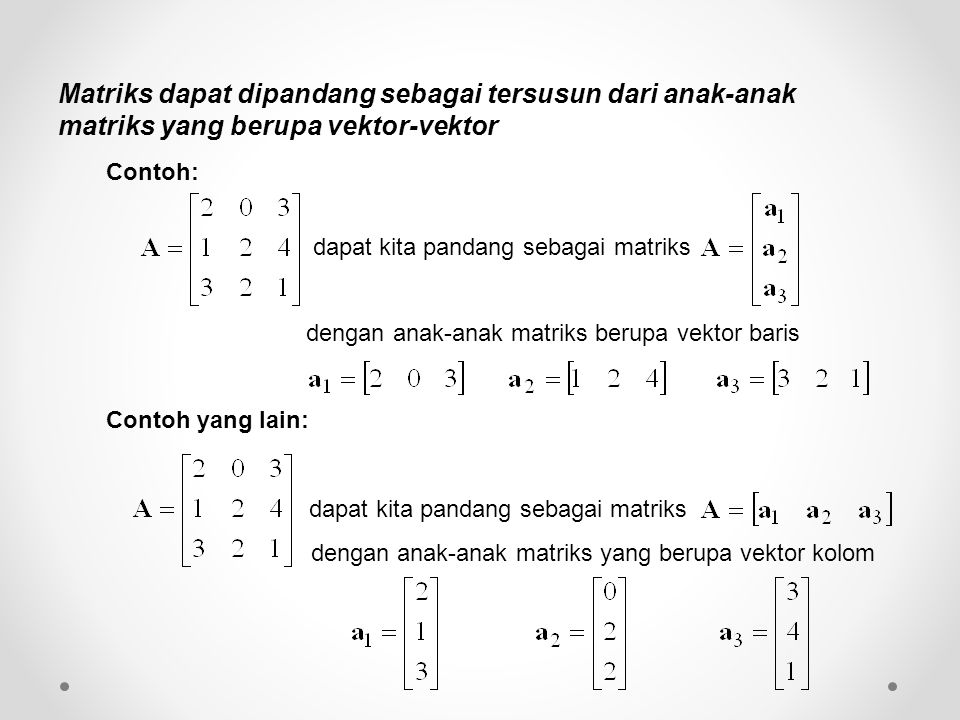 Matriks dapat dipandang sebagai tersusun dari anak-anak matriks yang berupa vektor-vektor dapat kita pandang sebagai matriks dengan anak-anak matriks berupa vektor baris dapat kita pandang sebagai matriks dengan anak-anak matriks yang berupa vektor kolom Contoh: Contoh yang lain:
