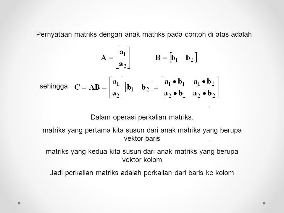 Pernyataan matriks dengan anak matriks pada contoh di atas adalah, sehingga. Dalam operasi perkalian matriks: matriks yang pertama kita susun dari ana