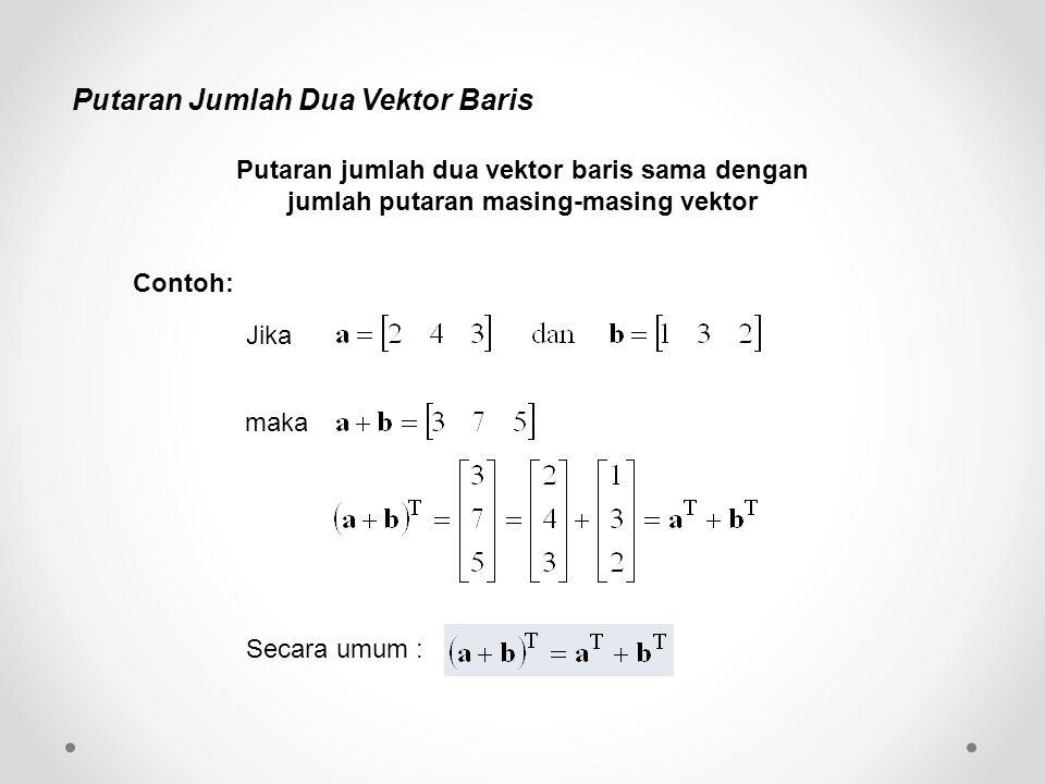 Putaran Jumlah Dua Vektor Baris Putaran jumlah dua vektor baris sama dengan jumlah putaran masing-masing vektor Jika maka Secara umum : Contoh: