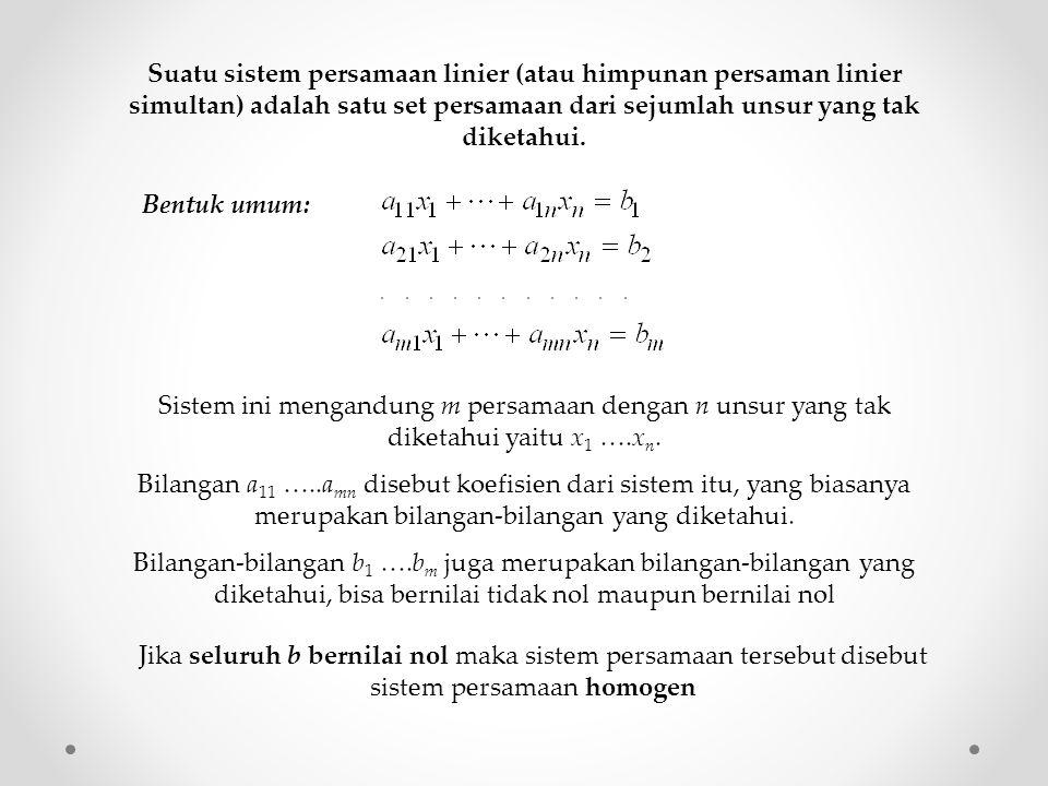 Suatu sistem persamaan linier (atau himpunan persaman linier simultan) adalah satu set persamaan dari sejumlah unsur yang tak diketahui. Bentuk umum: