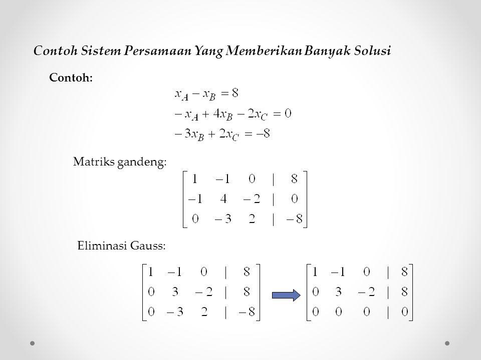 Contoh Sistem Persamaan Yang Memberikan Banyak Solusi Matriks gandeng: Eliminasi Gauss: Contoh: