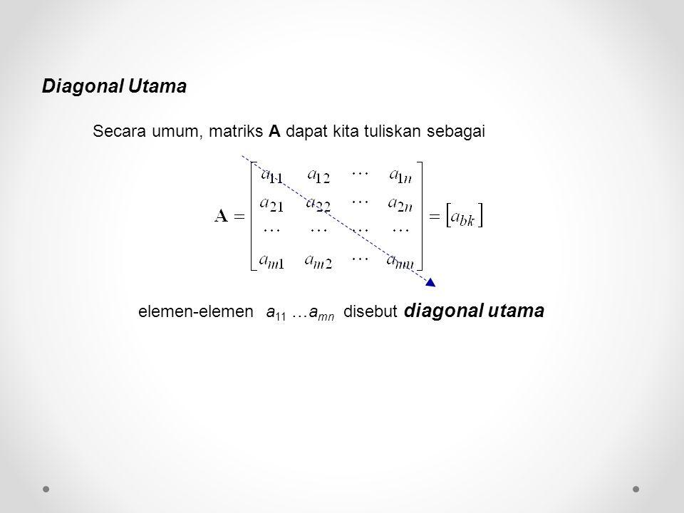 Secara umum, matriks A dapat kita tuliskan sebagai elemen-elemen a 11 …a mn disebut diagonal utama Diagonal Utama
