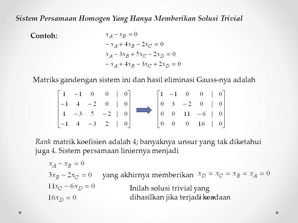 Sistem Persamaan Homogen Yang Hanya Memberikan Solusi Trivial Matriks gandengan sistem ini dan hasil eliminasi Gauss-nya adalah Rank matrik koefisien adalah 4; banyaknya unsur yang tak diketahui juga 4.