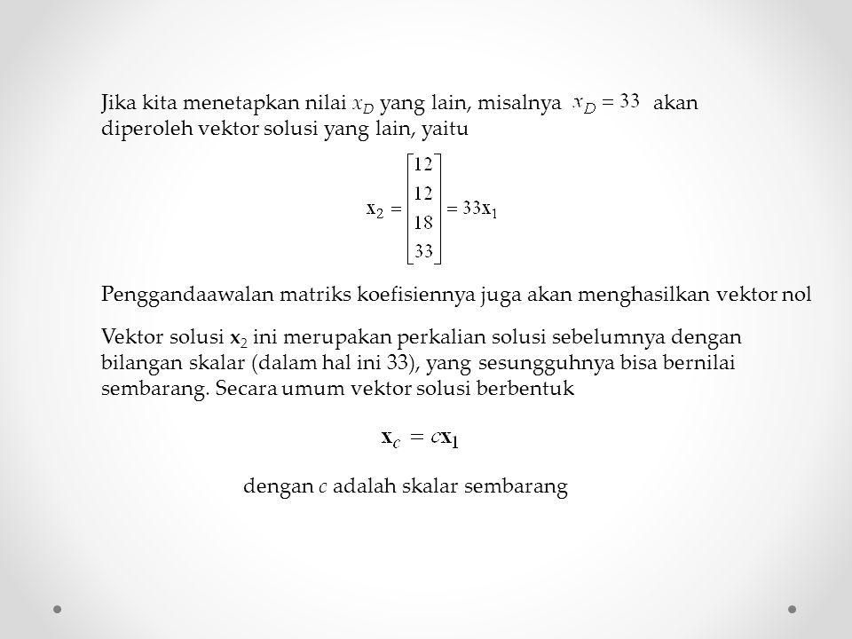 Jika kita menetapkan nilai x D yang lain, misalnya akan diperoleh vektor solusi yang lain, yaitu Penggandaawalan matriks koefisiennya juga akan mengha