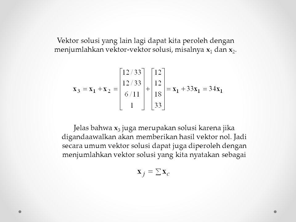 Vektor solusi yang lain lagi dapat kita peroleh dengan menjumlahkan vektor-vektor solusi, misalnya x 1 dan x 2. Jelas bahwa x 3 juga merupakan solusi