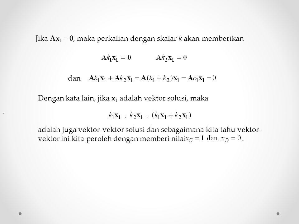 Jika Ax 1 = 0, maka perkalian dengan skalar k akan memberikan, dan Dengan kata lain, jika x 1 adalah vektor solusi, maka adalah juga vektor-vektor sol