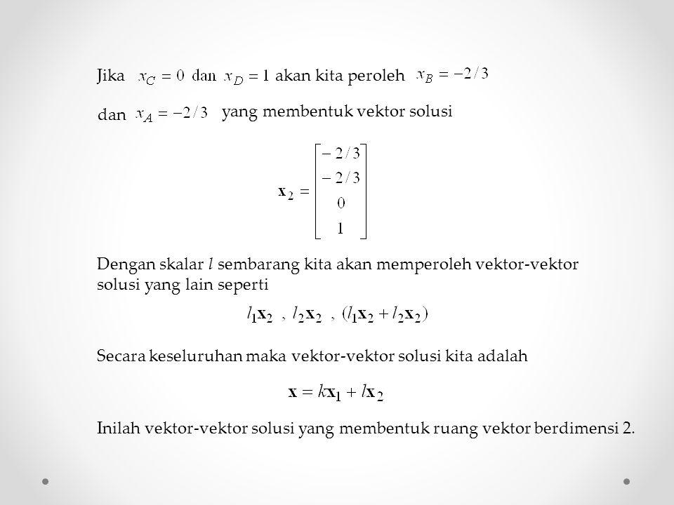 Jika akan kita peroleh dan yang membentuk vektor solusi Dengan skalar l sembarang kita akan memperoleh vektor-vektor solusi yang lain seperti Secara k