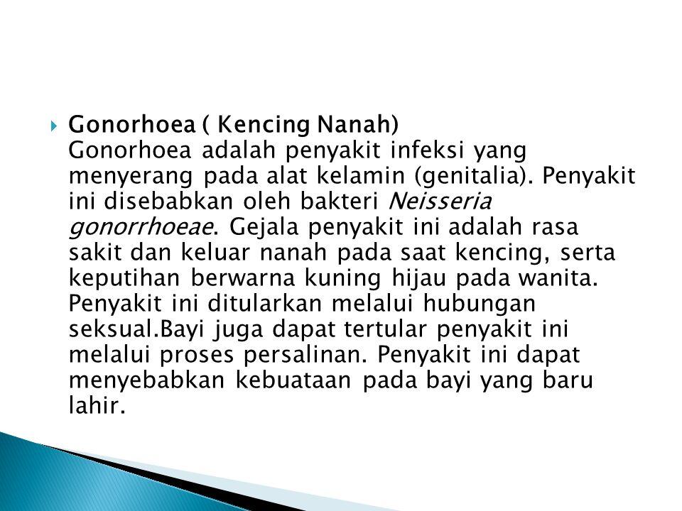  Gonorhoea ( Kencing Nanah) Gonorhoea adalah penyakit infeksi yang menyerang pada alat kelamin (genitalia).