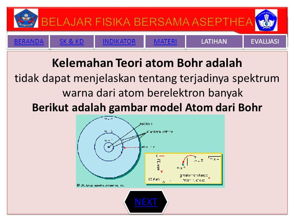 TEORI ATOM NEIL BOHR -Elektron hanya dapat berpindah dari satu lintasan stasioner ke lintasan stasioner lain.