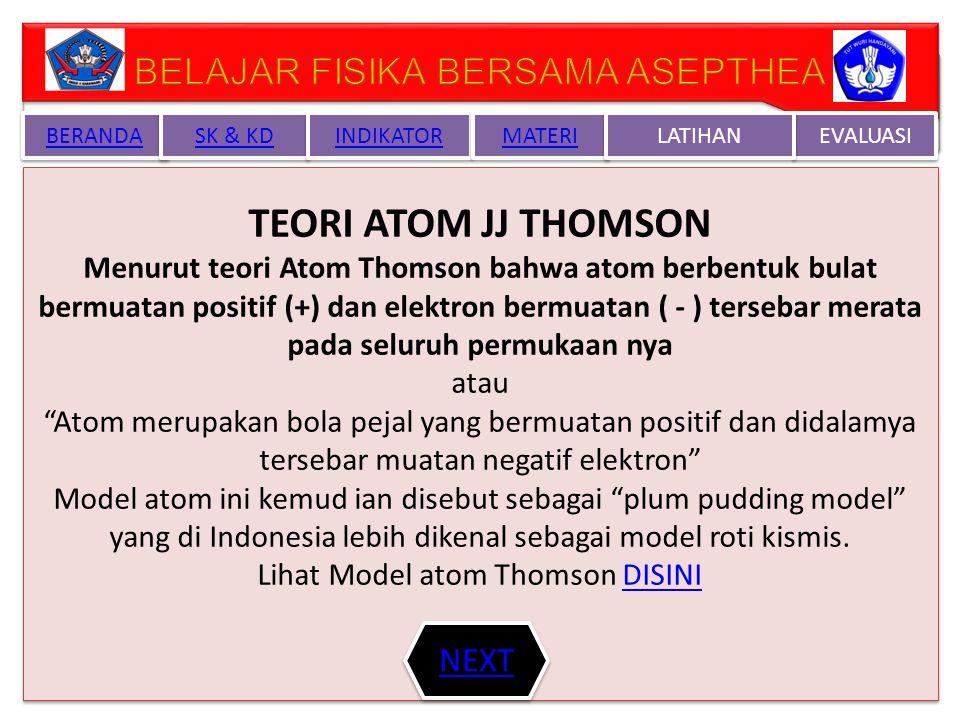 BERANDA SK & KD INDIKATOR MATERI EVALUASI LATIHAN ATOM ELEKTRON ( - ) ELEKTRON ( - ) INTI ATOM ( + ) INTI ATOM ( + ) ZAT (BENDA) ZAT (BENDA) PROTON ( + ) PROTON ( + ) NEUTRON Tdk bermuatan NEUTRON Tdk bermuatan NEXT BACK