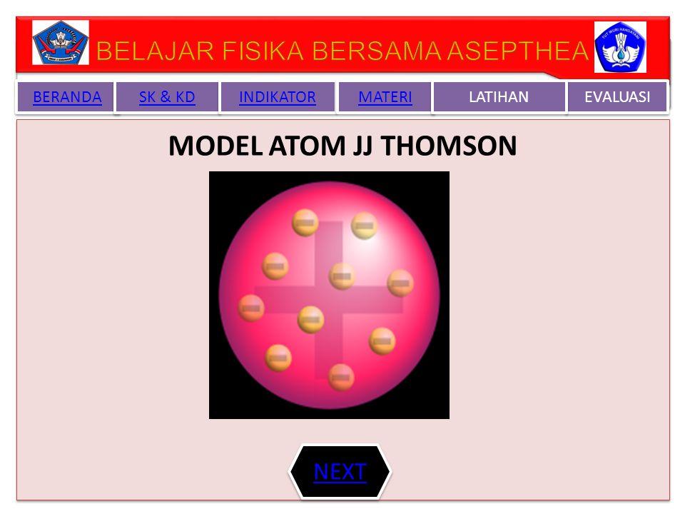 TEORI ATOM JJ THOMSON Menurut teori Atom Thomson bahwa atom berbentuk bulat bermuatan positif (+) dan elektron bermuatan ( - ) tersebar merata pada seluruh permukaan nya atau Atom merupakan bola pejal yang bermuatan positif dan didalamya tersebar muatan negatif elektron Model atom ini kemud ian disebut sebagai plum pudding model yang di Indonesia lebih dikenal sebagai model roti kismis.