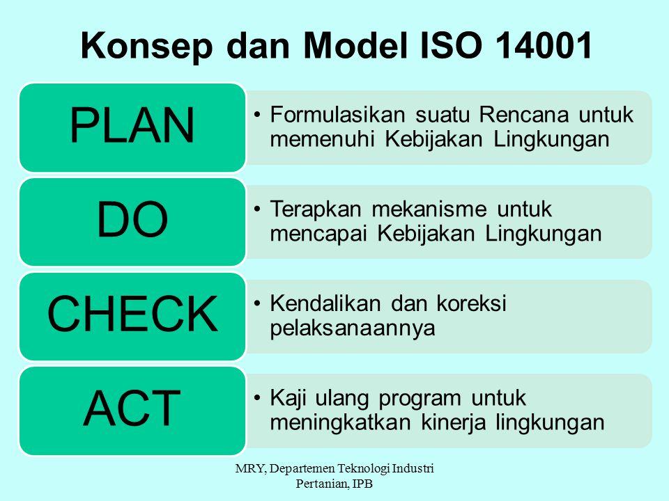 Formulasikan suatu Rencana untuk memenuhi Kebijakan Lingkungan PLAN Terapkan mekanisme untuk mencapai Kebijakan Lingkungan DO Kendalikan dan koreksi pelaksanaannya CHECK Kaji ulang program untuk meningkatkan kinerja lingkungan ACT Konsep dan Model ISO 14001 MRY, Departemen Teknologi Industri Pertanian, IPB