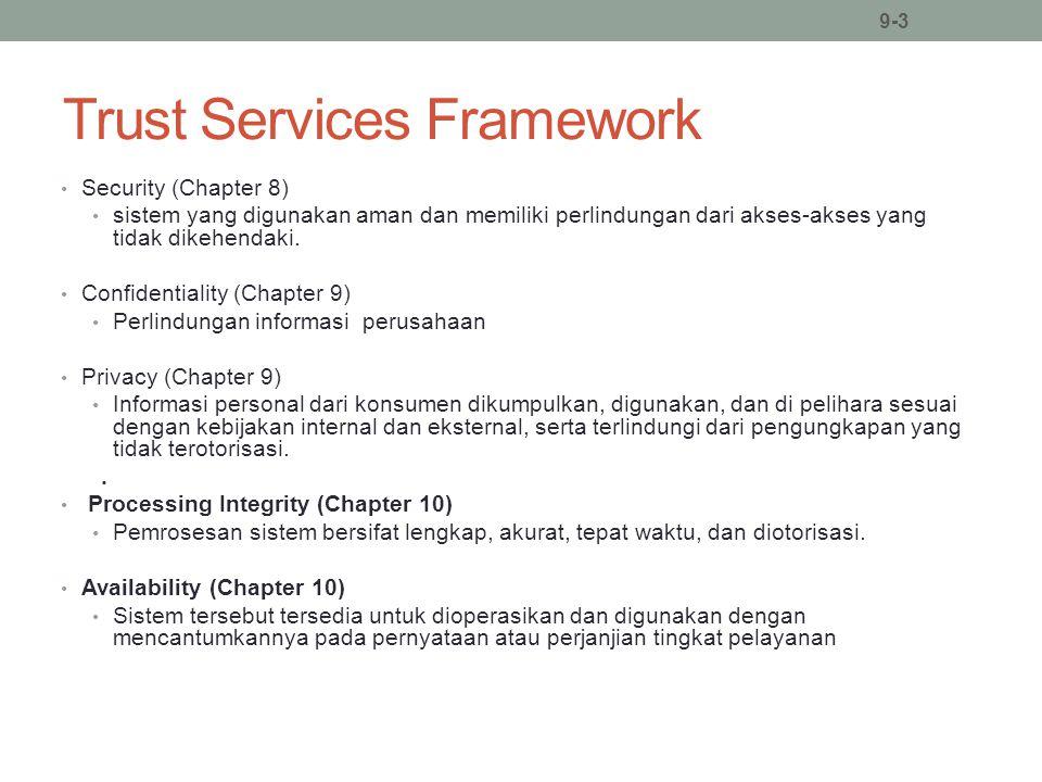 Trust Services Framework Security (Chapter 8) sistem yang digunakan aman dan memiliki perlindungan dari akses-akses yang tidak dikehendaki. Confidenti