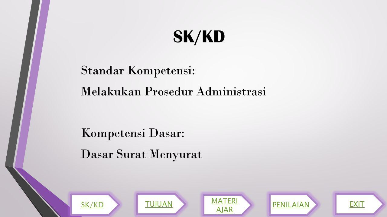 SK/KD Standar Kompetensi: Melakukan Prosedur Administrasi Kompetensi Dasar: Dasar Surat Menyurat SK/KD TUJUAN MATERI AJAR PENILAIAN EXIT