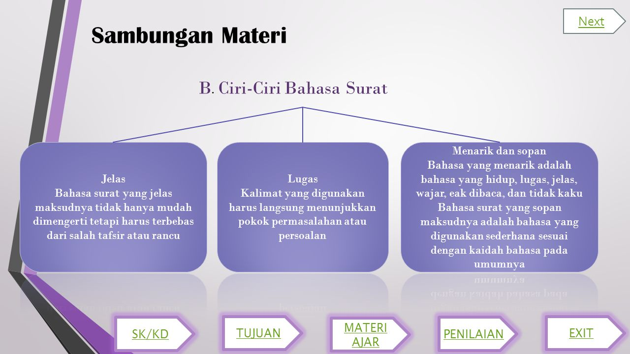 Sambungan Materi B. Ciri-Ciri Bahasa Surat Next SK/KD TUJUAN MATERI AJAR PENILAIAN EXIT