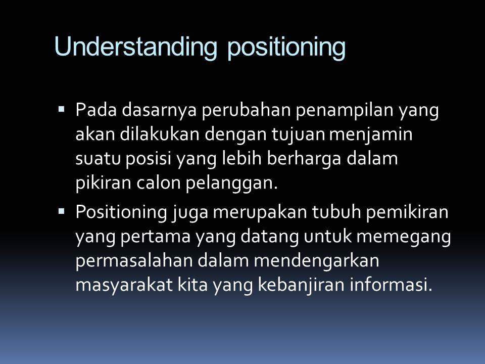 Understanding positioning  Pada dasarnya perubahan penampilan yang akan dilakukan dengan tujuan menjamin suatu posisi yang lebih berharga dalam pikir