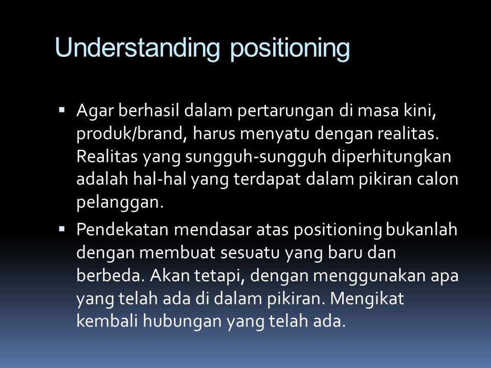 Understanding positioning  Agar berhasil dalam pertarungan di masa kini, produk/brand, harus menyatu dengan realitas. Realitas yang sungguh-sungguh d