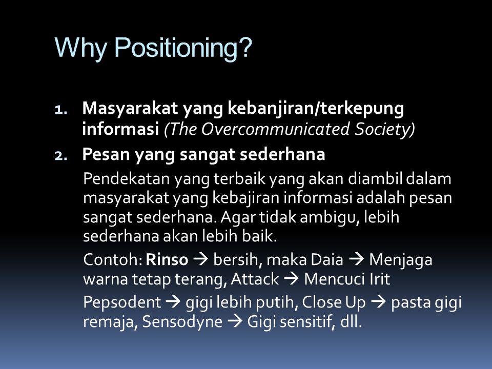 Why Positioning? 1. Masyarakat yang kebanjiran/terkepung informasi (The Overcommunicated Society) 2. Pesan yang sangat sederhana Pendekatan yang terba