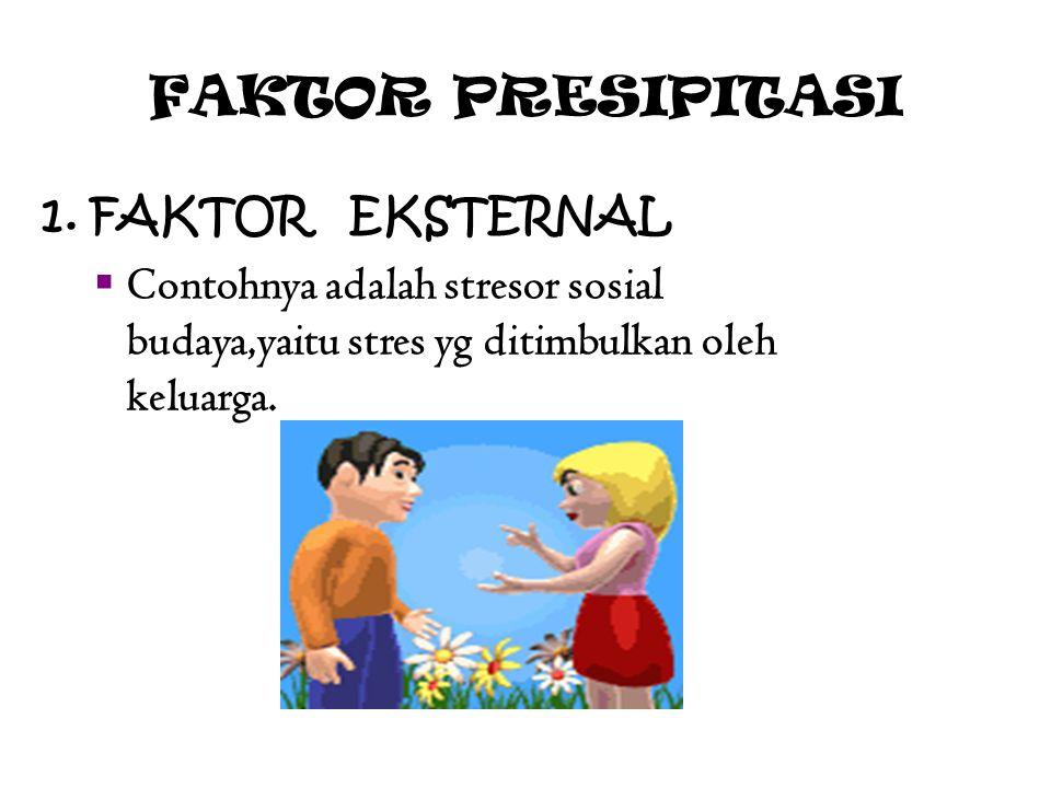 FAKTOR PRESIPITASI 1. FAKTOR EKSTERNAL  Contohnya adalah stresor sosial budaya,yaitu stres yg ditimbulkan oleh keluarga.